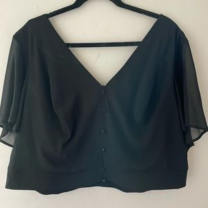 Torrid Button Up Crop Top with Flowy Sleeves